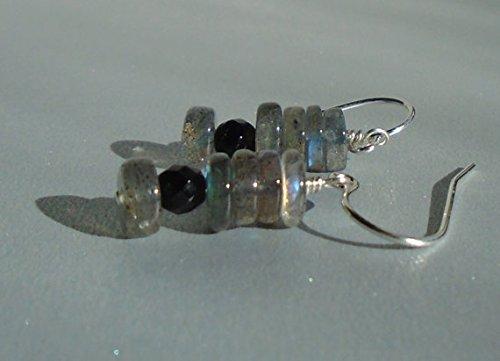 Labradorite Earrings with Black Onyx, Black Earrings, Short Dangling Earrings, Gemstone Earrings, Dainty Earrings 4-5mm ()