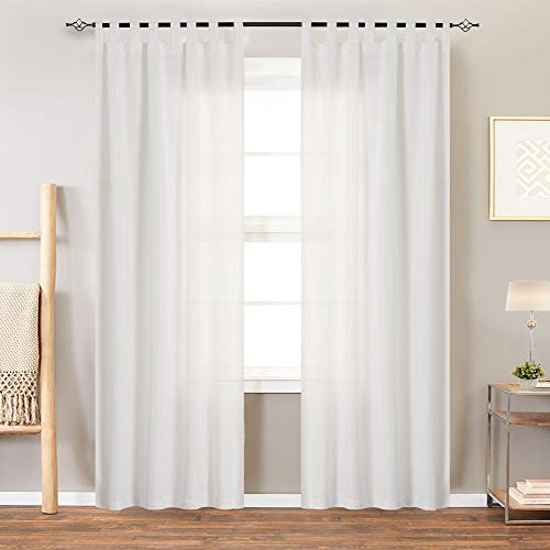 White Curtains for Living Room Canvas Curtain Panels for Bedroom 84 Inches Length Water-Proof Tab Top Window Curtains, 1 Panel, - Tab Window Top Curtain