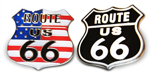 Route 66 Patriotic American Flag & Solid Black 2-Piece Lapel or Hat Pin & Tie Tack Set with Clutch Back by Novel Merk]()