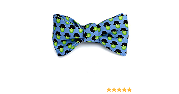 Josh Bach Mens Apples Hats Art-Inspired Self Tie Silk Bow Tie Blue Made in USA