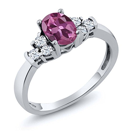 Sterling Silver Pink Tourmaline & White Topaz Women's Ring (0.74 cttw (Size - Ring Tourmaline Gemstone