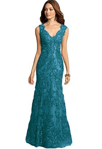 V-Neck Teal Prom Dress Lace Long Mother of The Bride Dresses US16