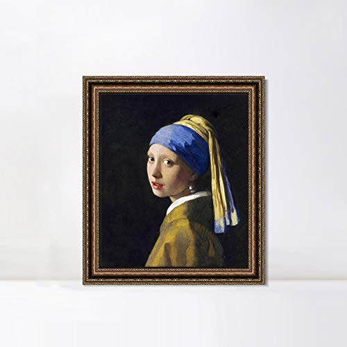 INVIN ART Framed Canvas Art Giclee Print Girl with a Pearl Earring by Johannes Vermeer Wall Art Living Room Home Office Decorations(Vintage Embossed Gold Frame,20