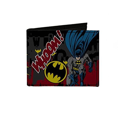 Buckle-Down Canvas Bi-fold Wallet - Batman Action Poses Whoom! Gray/blac Accessory at Gotham City Store
