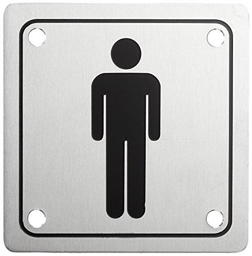 [해외]HSI 남자의 문 플레이트 나사 스테인레스 스틸 100 x 100 x 1 966232.0 / HSI Men`s Door Plate with Screw Stainless Steel 100?x 100?x 1?mm Pack of 1 966232.0