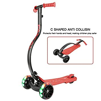 LBLA 3 Wheel Foldable Kids C Shape Anti-Collision Adjustable Height Handle Kick Scooter with Extra-Wide Deck PU Light-Up Wheels for Kids