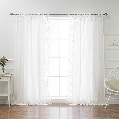 Linen Daisy Lace Border Curtains - Tie Top - 52