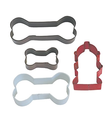 R&M International 1825 Dog Bone Cookie Cutters, Assorted Bones and Fire Hydrant, 4-Piece (Cat Cookie Recipe)