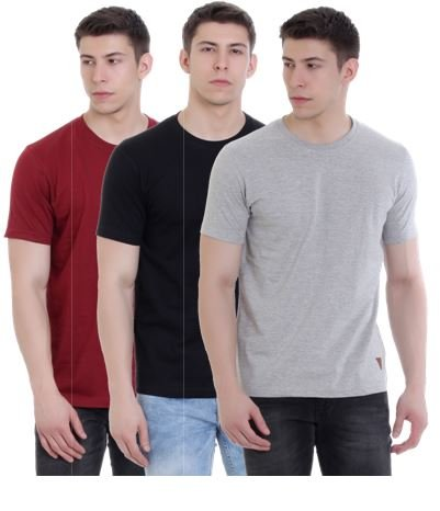 c7d57e321 FAB69 Solid Men s Round Neck Half Sleeve Cotton Plain Ruby Wine Maroon Black Grey  Melange T-Shirt (Combo Pack of 3) - Leather Patch - Bottom Hem  Amazon.in   ...