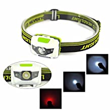 Tenworld Head Flashlight Mini Size Led Headlamp Flashlight with Red Light for Running, Hiking, Camping