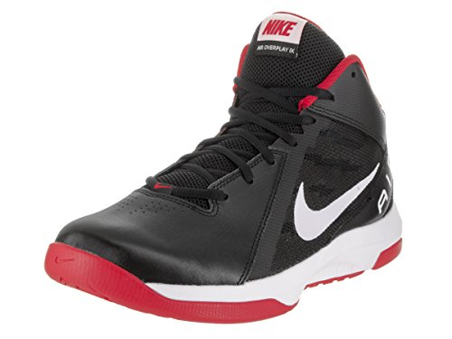 Nike Men's The Air Overplay IX Black/White University Red Basketball Shoe 11 Men US (Red Nikes Air Shoes For Men)
