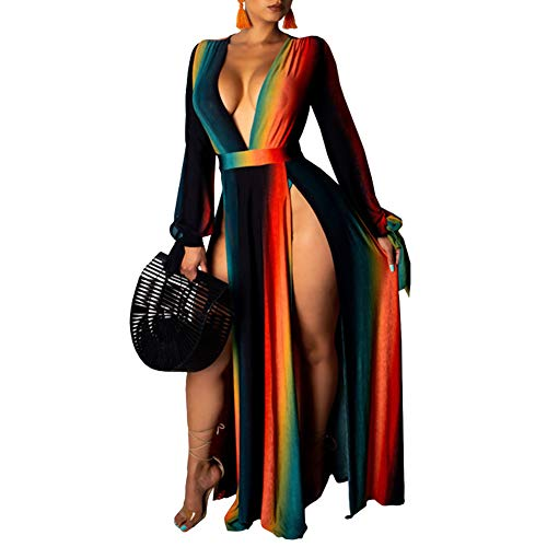 Women's Maxi Romper Dresses - Deep V Neck Tie Dye Long Sleeve High Slit Jumpsuits Summer Dress Multicolor XXL (Long Sleeve V Neck Dress Plus Size)