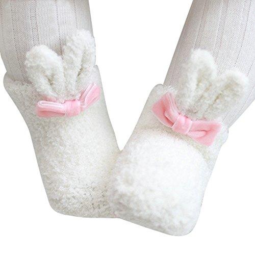 OVOV Baby Girls Coral Rabit Ears Socks Sweet Cute Warm Anti-Skid Slipper Socks -