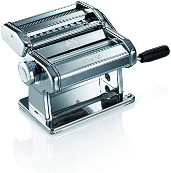 Marcato Design Atlas 150 Pasta Machine, Made in Italy, Includes Cutter, Hand Crank, and Instructions