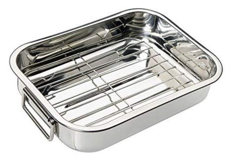 Menax - Rustidera de Horno con Grill - Asas Abatibles - Acero Inoxidable - 25 cm