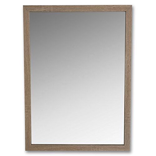 ribeca Rustic Natural Framed Mirror, Hand Crafted, Wood, Rectangle, Brilliant Glass, Slim Profile, 29 1/2 H x 21 3/4 W x 1/2 D Inches ()