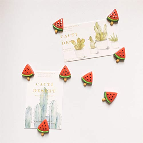 8pcs 3D Mini Cute Red Watermelon Resin Magnet Refrigerator Ins Creative Decor Summer Fruit Magnets Refrigerator Air Conditioners Washing Machine Magnetic Board Iron Office Files Gift Souvenir (Watermelon Magnets)