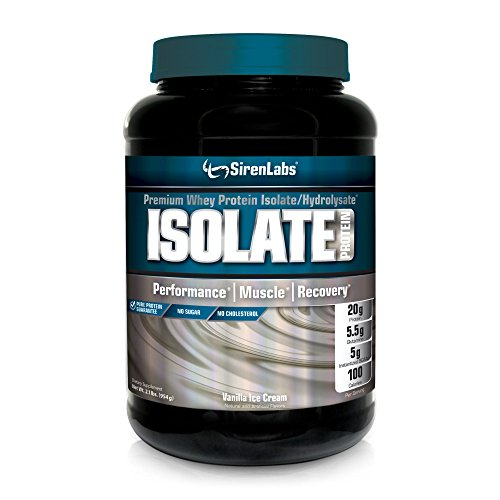 Siren Labs Isolate Premium Whey Protein Isolate and Hydrolysate with Glutamin for Lean Muscle Growth, Athletic Performance, Recovery - Vanilla Ice Cream - 30 Servings