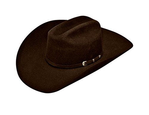 ARIAT Men's Wool 3 Piece Buckle SS Hat, Chocolate, 7 1/4 - Leather Wool Cowboy Hat