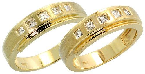 14k Gold Matte Center Band Diamond Wedding Set (6mm each), w/ 0.55 Carat Invisible Set Diamonds, (Men's Size: 9 to 12); Ladies' size 7