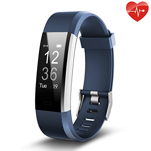 Juboury Fitness Tracker, Slim Heart Rate Smart Bracelet Wearable Pedometer Touch Screen Activity Tracker Fitness Watch for Android and IOS Smart Phones (Blue)