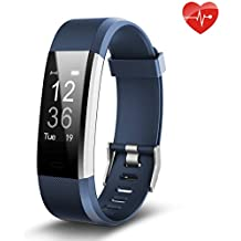 Fitness Tracker, Juboury Slim Heart Rate Smart Bracelet Wearable Pedometer Touch Screen Activity Tracker Fitness Watch for Android and IOS Smart Phones
