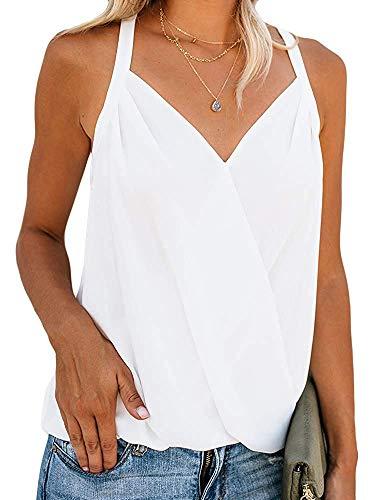 Sleeveless Wrap Blouse - Women's Deep V Neck Surplice Tank Top Drape Wrap Sleeveless Sexy Pleated Blouse (White, X-Large)