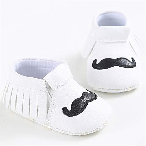 C&H Unisex Infant Baby Soft Tassels Non-Slip Prewalker Moccasins Shoes (11cm(0-6Months), C-White)