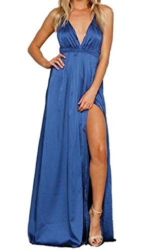 Beach Royal Solid Wear Split Comfy Long Blue Women Dress Coolred Backless Maxi Swing wPnp8OtxSq