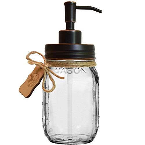 (Premium Home Quality Premium Rust Proof 304 18/8 Stainless Steel Mason Jar Soap Pump/Lotion Dispenser Kit by Includes 16 oz (Regular Mouth) Glass Mason Jar (Farmhouse Bronze))