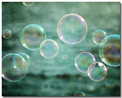 (Bubbles Picture for Kids Bathroom. Teal Aqua Unframed 8x10 Fine Art Print. Nursery Decor, Children's Bath Wall Art.)