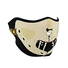 Neoprene half face mask features full coverage of the face and ears. Stretchy neoprene material is warm and water resistant. Face mask has been lined with black stretch nylon trim. Patterns are reversible to solid black material. Velcro closu...