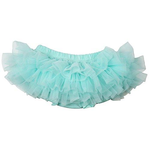 juDanzy Ruffle Chiffon or Satin Tutu All Around Bloomer Diaper Cover (Newborn, Aqua Chiffon)