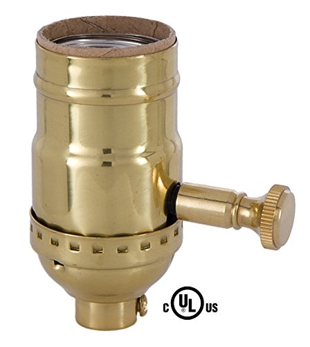 B&P Lamp Med. Base Full Range DIMMER Socket, Solid brass shell with polished and lacq. finish