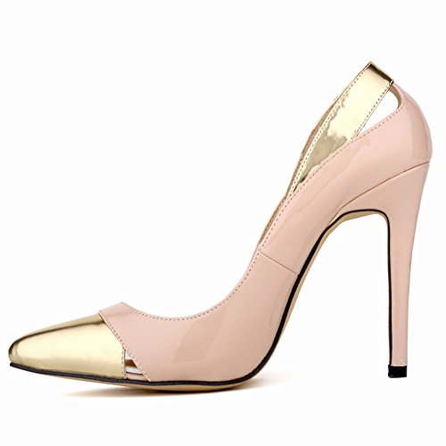Party Pumps Wedding Dethan Heel apricot PU High Womens Pointed Toe Leather Prom Nightclub Thin awxzTZqSw7