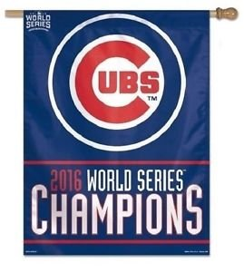 WinCraft MLB Chicago Cubs Banner27x37 Vertical Banner 2016 World Series Champs Design, Team Colors, One Size