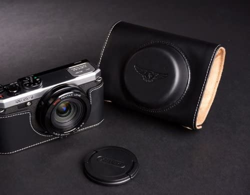 Handmade Genuine real Leather Full Camera Case bag cover for Pentax MX-1 MX1 Black Bottom opening Version