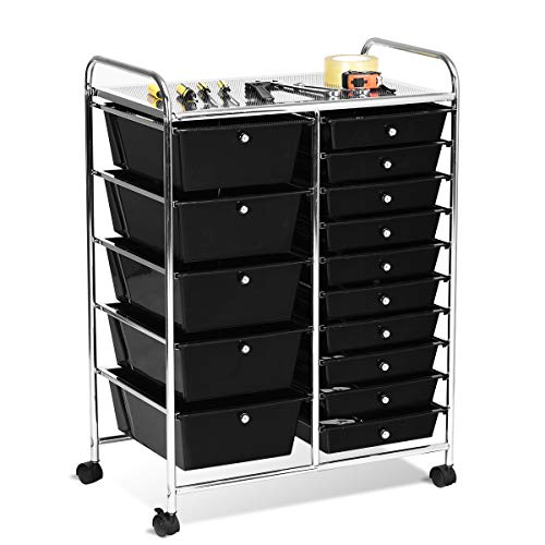 - Giantex 15 Drawer Rolling Storage Cart Tools Scrapbook Paper Office School Organizer, Black