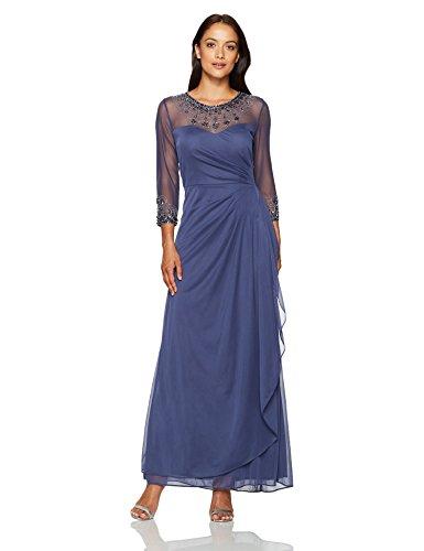Alex Evenings Women's Petite Long a-Line Illusion Sweetheart Neck Dress, Violet, 6P