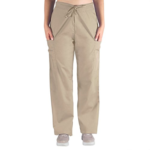 Khaki Combo - 98.6 Nurse Scrubs for Men & Women: Unisex Medical Nursing Pants 2 Cargo Pockets XL Khaki