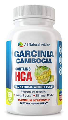 All Natural Advice Weight Loss Garcinia Cambogia (180 Capsules) - Dietary Supplement Maximum Strength Slimmer Body
