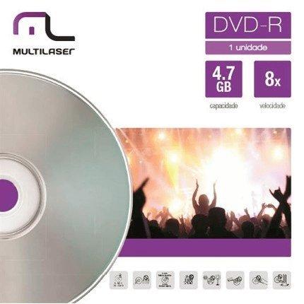 Mídia DVD-R Velocidade 08X Unitário Em Envelope Multilaser DV018, Multilaser, DV018
