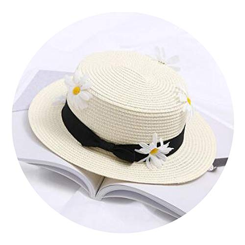 Parent-Child Cap Summer Women and Child Boater Beach Hat Female Casual Panama Hat Lady Classic Bowknot Straw Flat Sun Hat,4,Child Size (50-52cm)