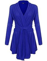 ACEVOG Women's Long Sleeve Asymmetric Open Front Light Weight Soft Drape Cardigan