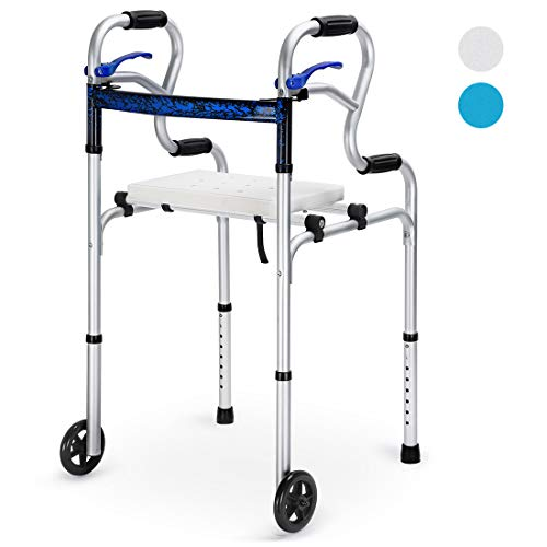 "Health Line Massage Products 4 in 1 Stand-Assist Folding Walker with Detachable Seat, Trigger Release and 5"" Wheels Supports up to 350 lbs, Compact Lightweight & Portable - w/Bonus Glides, Silver"
