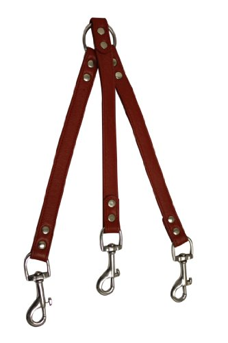 - Angel Pet Supplies Leather Coupler for 3-Dogs, 10 by 3/4-Inch, Valentine Red