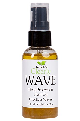 Isabella's Clearly WAVE, Best High Density Thermal Protection. Anti Frizz Beach Hair Curl Define Oil. Protect: Iron, Wand, Solar Heat, Prevent Split Ends & Breakage. Jojoba, Rosemary, 2 Oz