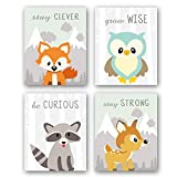 pictures for kids rooms Unframed Woodland Animals Art Print Adorable Fox Owl Racoon Deer Wall Art Painting,Set of 4(8''x10'') Canvas Cartoon Inspirational Picture for Kids Room Nursery Decor