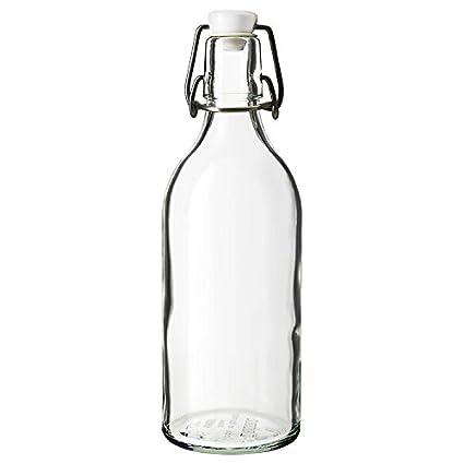 Estilo clásico cristal transparente con tapón de botella de vidrio transparente, Canister elabora vino,