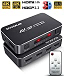 4K HDR HDMI Switch, Koopman 4 Ports 4K 60Hz HDMI 2.0 Switcher Selector